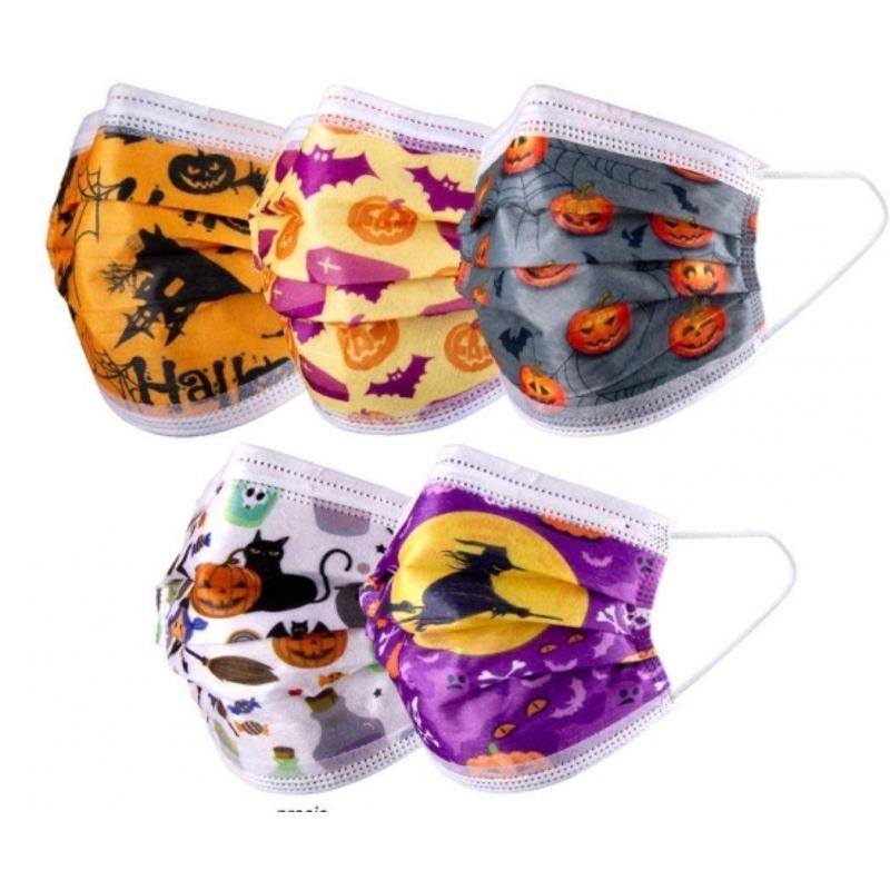 Pack de 10 mascarillas tres capas tipo quirúrgicas Halloween Lilas