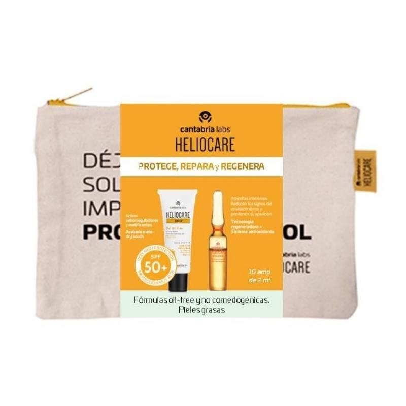 Heliocare 360º Gel Oil Free SPF50 50ml + 10 ampollas Endocare Radiance + Regalo Neceser