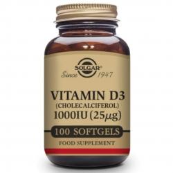 Solgar Vitaminas D3 100IU 100 Cápsulas Blandas